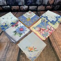 6 Vtg Handkerchief Lot Blue Pink Yellow Floral Hankie Hand Rolled Embroidered