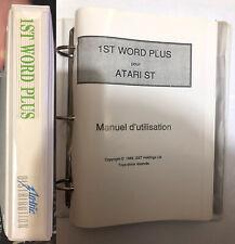 MANUEL UTILISATEUR 1ST WORD PLUS (first) ATARI version française, french