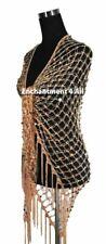 Exotic Crochet Net Sequins Belly Dance Hip Scarf, Golden