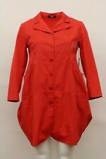 RISONA FALL COTTON NOTCHED COLLARED LONG BUTTON COAT JACKET RED Sz 2 NWT