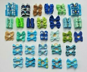 Pair of Pretty Boys & Blue Dog Hair Bands Top Knot Grooming Bows Shih Tzu etc