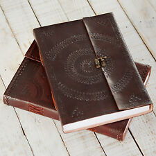 Indra Fair Trade Handmade A4 Embossed Leather Journal Scrapbook