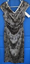 NEW NWT Maggy London Petites Black & Silver Polyester Evening Dress Size 2 2P