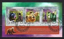 Animaux Ours Guinée (218) série complète de 3 timbres oblitérés en feuillet