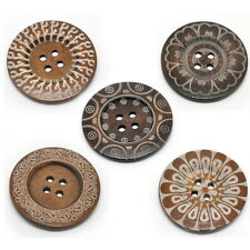 Large Ethnic Pattern Wooden Button BOHO Ethnic Tribal Bohemian 60mm 10pcs TY
