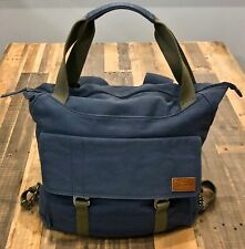 LL Bean Navy Convertible Canvas Messenger Backpack Bag w/Flannel Lining - RARE!