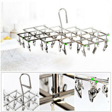 Stainless Steel 35 Peg Clip Folding Clothes Hanger Swivel Hook Socks Drying Rack