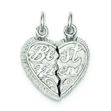 .925 Sterling Silver Best Friend 2-piece Break Apart Heart Charm Pendant