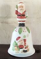 """Bisque Porcelain Hand Bell Santa Claus Handle Hand Painted 5 1/2"""" Christmas Bell"""