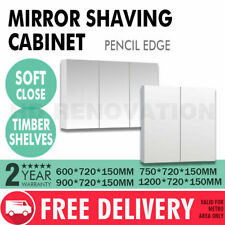 600/750/900/1200*720*150mm Mirror Shaving Cabinet Pencil Edge 2/3 Doors