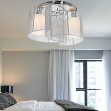 40x25cm Metal Ceiling Light Pendant with Fabric Finish White