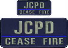 JCPD CEASE FIRE EMBROIDERY PATCH 4X10and 2x5 HOOK ON BACK NAVY/GRAY