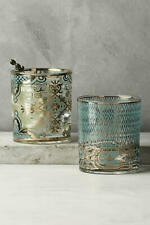 Patina Vie Gold & Blue  Cocktail Rocks Glass Drinkware Anthropologie rare