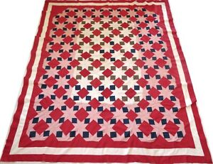 Antique 1930's Hand Stitched Red Blue Tan Brown Lemoyne Star Quilt Top 91x76