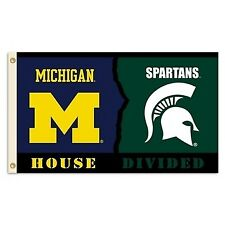 NCAA Michigan Wolverines Flag With Grommets Rivalry House Divided 3ft X 5ft Blue