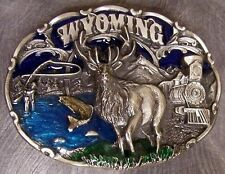 Pewter Belt Buckle State of Wyoming colored NEW