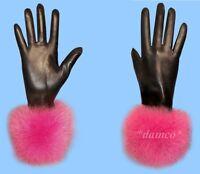 NEW WOMENS size 9-3XL BLACK KID LEATHER GLOVES with FUCHSIA FOX FUR TRIM