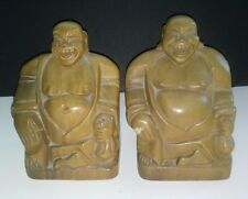 """BUDDHA Statues Bookends Hand Carved Wood Philippines Pair RARE 6 1/4"""" Vintage"""
