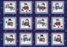 Winter Wishes Christmas Navy Blue Snowman Snowmen Panels Cotton Quilting Fabric