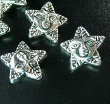 60PCS Tibetan Silver floral FACE star spacer beads FC343