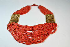 BEAUTIFUL MULTI STRANDS TWO YAKBONE PANDENT NECKLACE WITH CORAL SEED BEADS