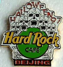 Hard Rock Cafe BEIJING 1997 HALLOWEEN PIN - 5 Screaming SKULLS with HRC LOGO