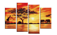 Africa Canvas Sunset Landscape Red toned Elephants Giraffe Wall Art Multi Panel