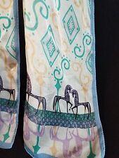 "SILK SCARF Equestrian Horses Blue Black off white green 10.5 x 75"" NEW"