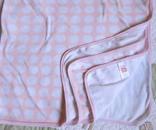Carter's Cotton One Ply Pink w Large White Polka Dots Baby Girl Blanket Euc