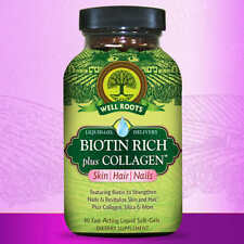 Well Roots Biotin Rich Plus Collagen, 120 Liquid Softgels Skin, Hair and Nails