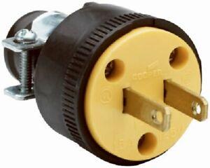 Pass & Seymour 6 Pack, 15A, 125V, Black Residential Grade 2 Wire Plug