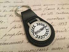 TRIUMPH Quality Black Real Leather Keyring  TR 7 6 5