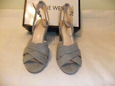 NINE WEST Niaria Grey Suede Ankle Strap Sandal Heel Dress Size 10.5 NIB $89