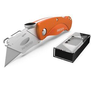 PRESCH Teppichmesser klappbar | Profi Cuttermesser aus Metall | 10 Ersatzklingen