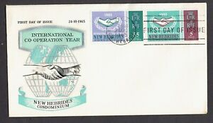 """NEW HEBRIDES 1965 FDC with the """"International cooperation year"""" with 2 stamps."""