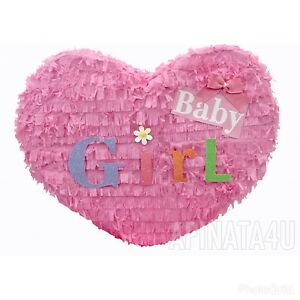 APINATA4U Baby Girl Pinata Heart Shape Baby Shower Party Favor