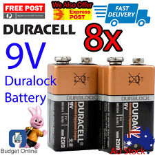 8 x Duracell 9V Coppertop Duralock Smoke Alarm Alkaline Battery MN1604 6LR61