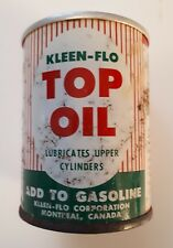 """RARE CANADIAN (MONTREAL) """"KLEEN-FLO TOP OIL GASOLINE ADDITIVE""""4 OZ EMPTY OIL CAN"""
