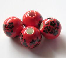 30pcs 10mm Round Porcelain/Ceramic Beads - Red / Black Oriental Flowers