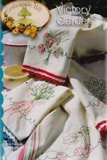 PATTERN - Victory Garden Kitchen Towels - stitchery tea towel PATTERN