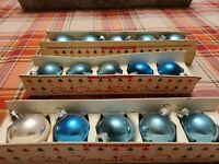 "Vintage 50's Shiny Brite 1 3/4""  Blue Ornaments Fanci-Pak 3 sleeves of 5."