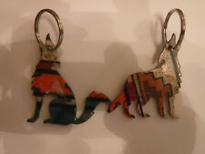 Two Howling Wolf Metal Key Chains, Colorful, in Good Condition, Neat -Preowned
