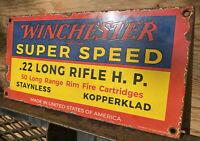 VINTAGE WINCHESTER PORCELAIN SIGN FIREARM AMERICAN AMMO .22 Rifle GUN OIL GAS