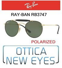 5466e68632 Occhiale da Sole RayBan ROUND METAL DOUBLEBRIDGE RB3747 9000 58 polarized  NEW