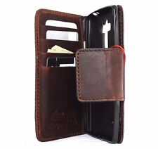 genuine leather hard case for LG Stylus 2 wallet cover book id brown magnet new