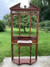 More details for antique victorian mahogany coat, hat hallway stand