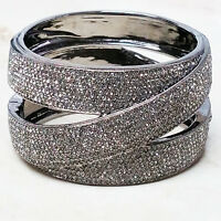 "Nadri Micro Pave Criss Cross Design Hinged 8"" Gunmetal Bangle Bracelet QVC $236"