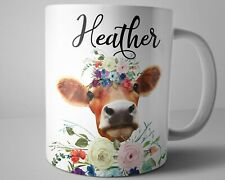 Cow Coffee Mug 11 oz Personalized Name Animal Mug Cow Lover Farmer Gifts