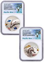 2-Coin 2017 Palau Seahorse/Dolphin HR Piedfort 1 oz Silver NGC PF70 ER SKU50246