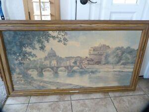 "Large, vintage ""Romantic Rome"" Framed Artwork By E.F. Karger, over 4 feet long!"